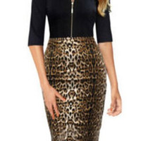 Jewel Neck Leopard Print Midi Dress