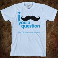 I Mustache You a Question (T-Shirt - Blue & Black)