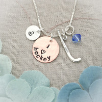 Sterling Silver & Copper Lacrosse, Field Hockey or Soccer Hand Stamped Initial Personalized  Hand Stamped Necklace
