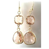 Autumn in Love Champagne Pink Gold Earrings