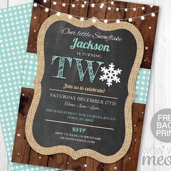 Snowflake Birthday Invite Turning 2 Two 2nd Boy's Girl's Twins INSTANT DOWNLOAD Our Little Invitation Christmas Party Printable Editable