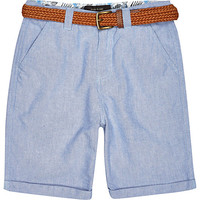 River Island Boys blue belted shorts
