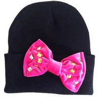 Studded Bow Beanie in Hot Pink