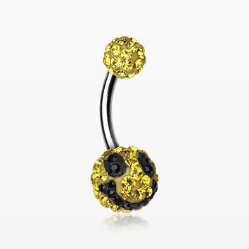 Smiley Multi-Gem Sparkle Belly Ring