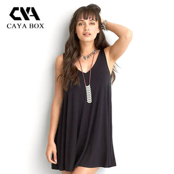 Black Women V collar drain back  Sling casual Bohemian floral sleeveless vest  beach chiffon dress