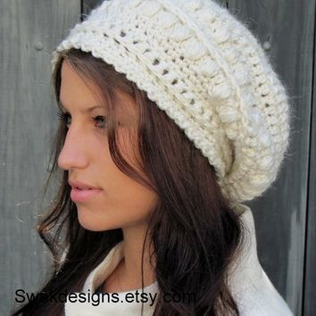 Alpaca Wool Slouchy Hat - Slouchy Bobble Beanie Winter White or CHOOSE Your color Hand Knit Hat