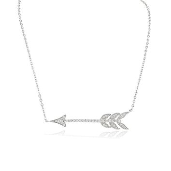 Sterling Silver Cz Sideways Arrow Necklace 18""