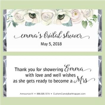Floral Watercolor Bridal Shower Candy Bar Wrappers