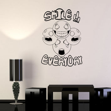 Wall Decal Emoticons Smiles Emotions Positive inscription Funny Vinyl Sticker Unique Gift (ed620)