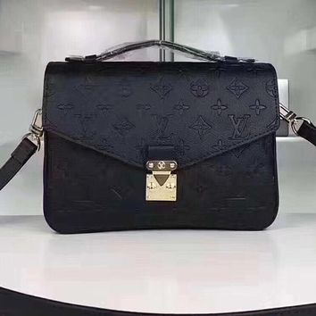 LV Louis Vuitton Ladies Fashion Candy Color Shopping Leather Shoulder Bag Handbag Crossbody Black I