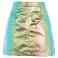 MOTO Metallic A-line Skirt - Denim - Clothing