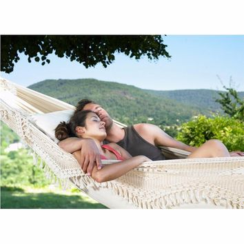 Ultra-Large 2 Person Cotton Hammock With Tassel Garden Swing Bed Outdoor Double Hamac Rede Hangmat Hanging Chair Euro Standard