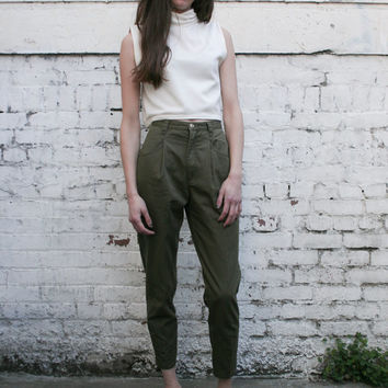 Vintage Eddie Bauer 1990's Olive Green High Waisted Cotton Trousers Pants XS/S