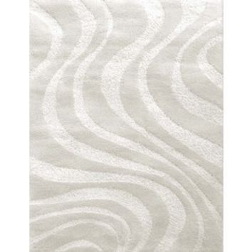 Shop Carpet Art Deco Symetry Rectangular Gray/Silver Transitional Woven Olefin/Polypropylene Area Rug (Common: 8-Ft x 10-Ft; Actual: 95-in x 124-in) at Lowes.com