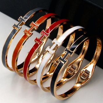 Hermes Fashion Women Men Multi-Color Simple Titanium Steel Bracelet Accessories(6-Color)