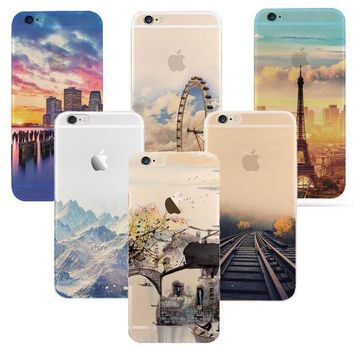 LMFUS4 Newest fashion For iPhone 6 6S case Ultra Thin Soft Waterproof Silicon Mountain Landscape For iphone 6 plus Case Phone Cover