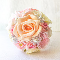 Pink Bridesmaid's Bouquet with pearls and crystal beads, bridal, wedding, spring, summer, outdoor, country, themed, classic, peach WBQ4-PNK