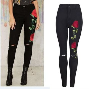 Fashion Black Embroidered Denim Trousers