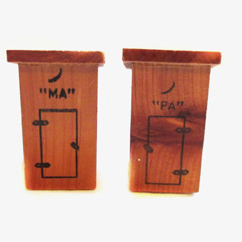 Vintage Salt and Pepper Shakers, MA and PA Outhouse, Wood Souvenir