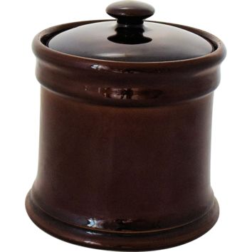 Vintage Tobacco Humidor Jar Brown Glaze Art Pottery Classic Mid Century Design 1950-60s