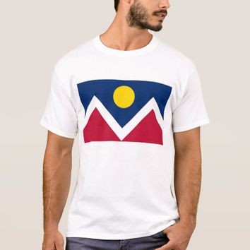 T Shirt with Flag of Denver, Colorado State, USA