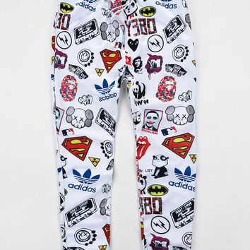 White 3D Emoji Print Sweatpants