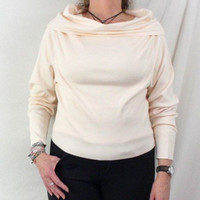 J Peterman L size Sweater Top New No tag Cream Ivory Cowl Off Shoulder Silk Knit