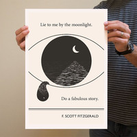 Original Illustration, F. Scott Fitzgerald quotation - Fine Art Prints - Art Posters - Literature inspired art - Dorm Decor