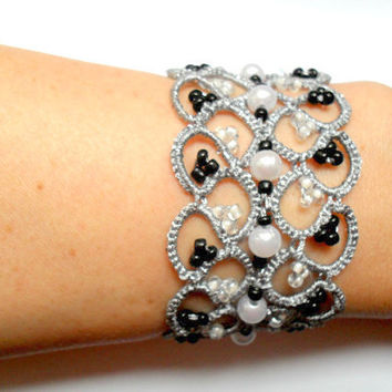 Silver lace bracelet, tatted bracelet, beaded bracelet, tatting jewelry, bridal jewelry, bridal bracelet, wedding jewelry, wedding lace