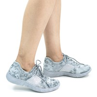 Forward04 Light Gray by Bamboo, Glitter & Velvet Lace Up Fashion Sneaker w Ribbon Platform Outsole
