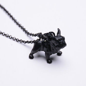 RONGQING Boho Hippie French Bulldog Wedding Necklace Collier Femme Bull Dog Pendant Black Necklace for Women Maxi Collier