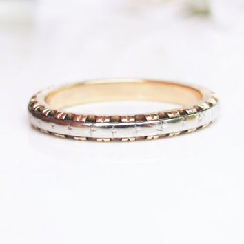 Vintage Wedding Ring 14K Two Tone Gold Ladies Wedding Band Gold Stacking Ring Size 5.5