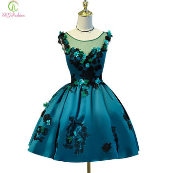 SSYFashion 2017 new short sexy cocktail dress dark green satin with appliques flower ball gown banquet party dress custom made