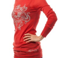Ed Hardy by Christian Audigier Women's Sweater Dress ehm5017 Red