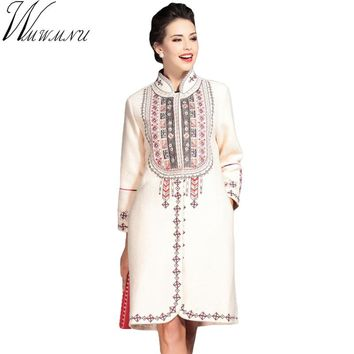Wmwmnu red blue apricot Women Wool Coat Ladies Woolen Coat Chinese Traditional Embroidered Coats For Womens Cloak Outwear ls359a