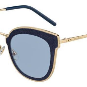 Jimmy Choo - Nile S Gold Blue Sunglasses / Blue Mirror Shaded Gold Lenses
