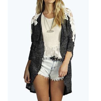 Dark Gray Lace Stitching Knit Cardigan Jacket