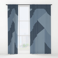Blue Tones Patchwork Window Curtains by deluxephotos