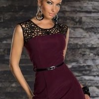 Piercing Plum Bodycon Black Lace Dress