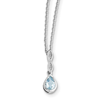 SS White Ice Blue Topaz and .01 ct Diamond Necklace QW369