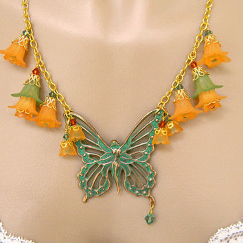 Green Fairy Pendant Necklace Handcrafted Orange Lucite Flowers Short