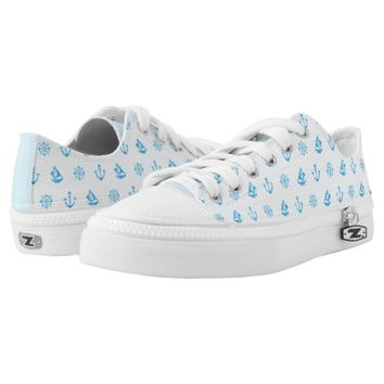 Sea Knitting Blue Shoes Printed Shoes