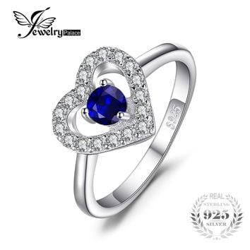 JewelryPalace Love Heart 0.6ct Created Blue Spinel Ring 925 Sterling Silver Jewelry Romantic Finger Rings for Women Wedding Gift