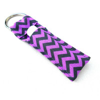Purple Gray Chevron Chapstick Keychain - Chevron Lavender Grey Lip Balm Holder Cozy