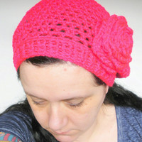 Hot Pink Slouchy Crochet Tam Hat with Large Rose, ready to ship.