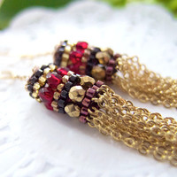 Gold Chain Earrings Tassel Earrings Red Garnet by JeannieRichard