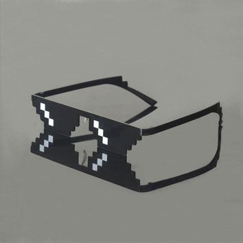 Sunglasses Men Thug Life Glasses Women Plus Size Minecraft Polygonal 8 Bits Style Pixel With Nose Pad