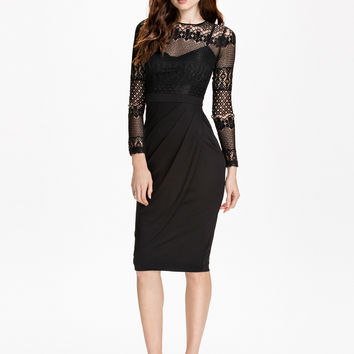 Black Lace Embroidered Long Sleeve Bodycon Midi Dress