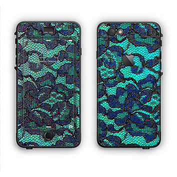The Blue & Teal Lace Texture Apple iPhone 6 LifeProof Nuud Case Skin Set