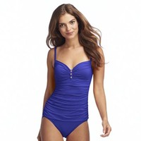 Chaps Ruched One-Piece Swimsuit - Women's
